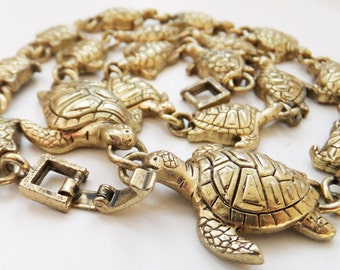 Vintage jewelry necklace in gold turtle tortoise 17 inch long necklace Sale half price