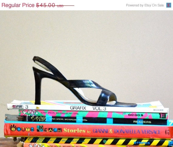 ON SALE 50% OFF Vintage 90s Ysl Yves Saint Laurant Black Heels Size 6 1/2