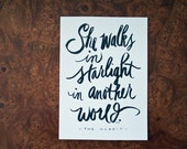 SALE! Love Quote, Tolkien Quote, Hobbit, Starlight, Couples, Wedding, Valentine's Day, Typography Print, Hand lettered Quote, 5x7 Print