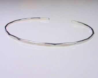 1 - Thin Sterling Silver Cuff - Silver Stacker Bracelet - Thin Silver Bangle