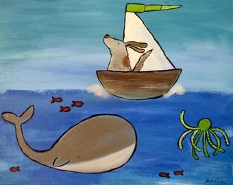 Adventure Awaits Kids Art Print Dog in Sailboat Wall Art Nursery Decor Ocean Storybook Children's Art