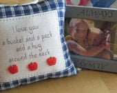 I love you a bushel and a peck - embroidered pillow