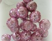 24 shabby PINK GLITTER BALLS on wires sparkly craft supplies with bonus