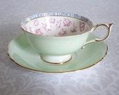 Mint Green Paragon Teacup and Saucer - Vintage Fortune Teller Teacup Set - Pastel Green Fortune Telling Tea Cup Set