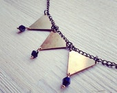 triangular spectacular collar -necklace (3 gold tone triangle charms with blue black opalescent beads on a bronze chain)
