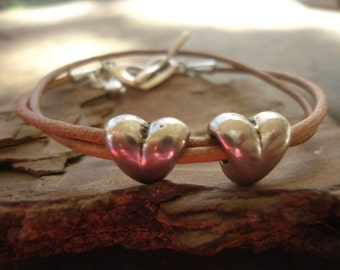 LOVE  leather wrap bracelet with hearts (703)