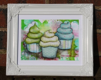 Cup cakes Print - Fine Art Giclee Print - Mixed Media