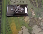 Victorian Honeybee Theme Embellished Gunmetal-Plated Business Card Case