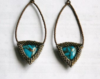 Kingman Turquoise and Bronze Beadwork earrings