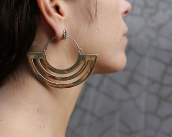 Parallel Lines Hoop Earrings - Hoop Earrings - Gold Hoop Earrings - Gold Hoops