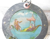 Teal Gondola Vintage Tin Pendant-Blue and Pink-Candy Tin Jewelry-Valentine's Day