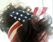 LARGE Dolly Bow, American Flag Fourth of July Rockabilly Wire Headband Pin Up 50s Hair Teen Woman July 4th Memorial Day