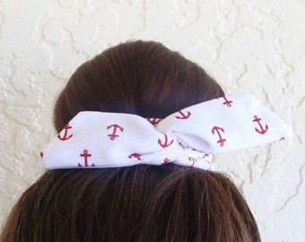 "Anchor Wire Bun Wrap, Top Knot Wire Wrap White with Red Anchors Mini"" Dolly Bow Wire Headband Ponytail Hair tie Hair Bun Tie Wrap"