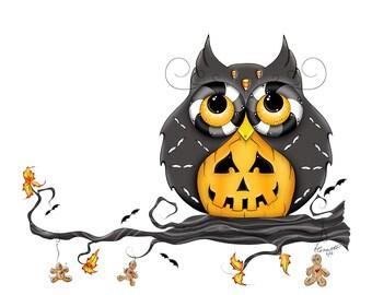 Jack-O-Lantern Hooty - Halloween Owl  - Owl Iron On Transfer