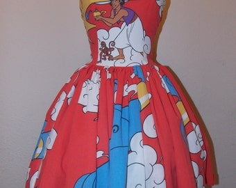 Custom Made to Order Aladin and Genie Movie Character Geekery Pin Up Sweet Heart Mini Dress