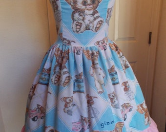 For Adam Custom Made to Order 80's Gizmo Gremlins Movie Vintage rare Sweet Heart Halter Ruffled Mini Dress
