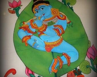 Handpainted Kerala Saree - Baby Krishna sucking his toe - Reserved