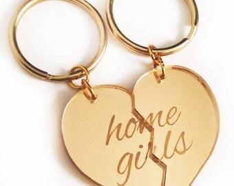 Home Girls - Friendship Key Ring Key Chain Set - Gold Split Heart