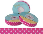 Hot Pink with White Polka Dots Print - Fold Over Elastic - 5 YARDS
