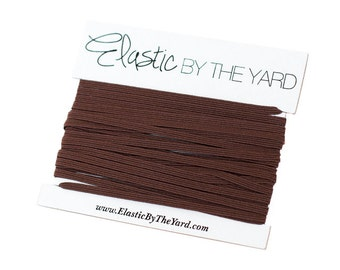 DARK BROWN Skinny Elastic for Baby Headbands 1/8 inch - 5 yards