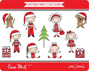 Christmas Family Stick Figures Clip Art