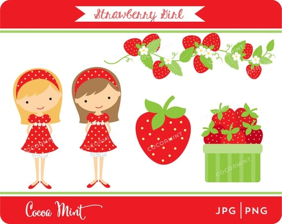 strawberry clip art from Cocoa Mint on Etsy