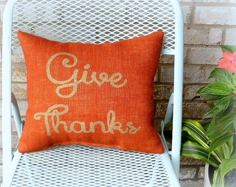 Burlap Pillow, Thanksgiving Decor
