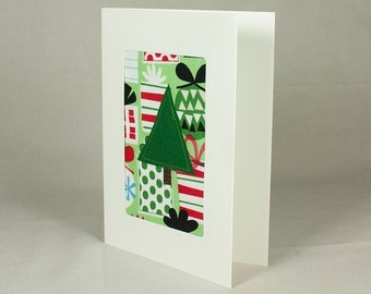 Merry Christmas - Handmade Christmas Card - Fabric Christmas Card - Quilted Greeting Card - Red and Green