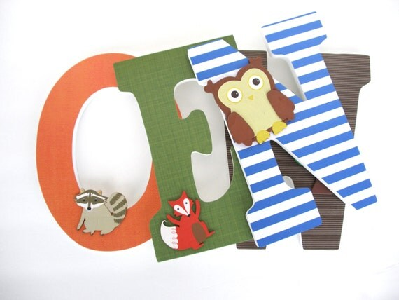 Woodland Creature Custom Decorated Wooden Letters By