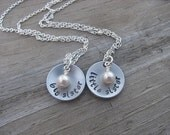 "Sisters Necklaces- 2 Necklace Set- ""big sister"", ""little sister"" domed pendants- with pearl-set of 2 necklaces"