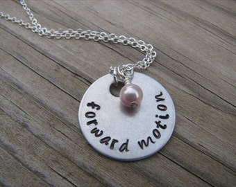 "Inspiration Necklace- ""forward motion"" with Swarovski crystal accents in your choice of colors- Hand-Stamped Jewelry"