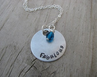 """Inspiration Necklace- """"Fabulous"""" with an accent bead in your choice of colors- Hand-Stamped Jewelry"""