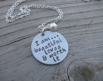 "Inspiration Necklace- ""I am...beautiful loved & worth it"" with an accent bead in your choice of colors"