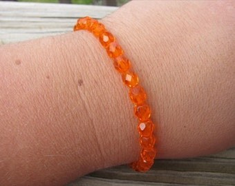 Layering Bracelet- Orange Beaded Bracelet