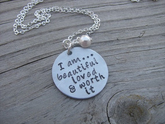 """Inspiration Necklace- """"I am...beautiful loved & worth it"""" with an accent bead in your choice of colors"""