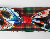 Head band, sugar skull and plaid- reversible