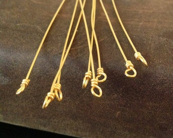 10 Vermeil Gold Headpins -  Extra Long Head Pins with Wire Wrapped Loop End  - 75mm Long - FHP-V11