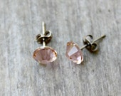 Titanium Earrings, Vintage Rose Swarovski Crystal, Hypoallergenic