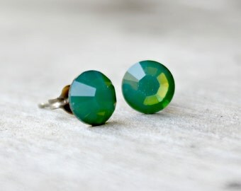 Titanium Earrings, Palace Green Opal Swarovski Crystal, Hypoallergenic