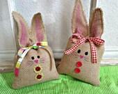 Burlap Easter Bunny, Easter Bunny, Easter Basket Decoration, Easter Basket child gift, Easter Gift, Easter decoration, Burlap Easter decor