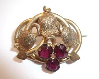 Victorian ruby rhinestone pin