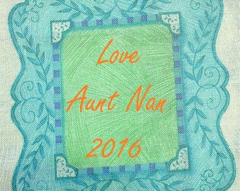 Quilt Label - Small Turquoise Frame, Custom Made & Hand Embroidered