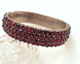 Antique Victorian Bohemian Garnet Bangle Bracelet Rose Cut Garnets Very Wide 4 Rows.