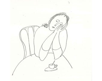 Coffee Time woman illustration original drawing people emotion figurative ink paper