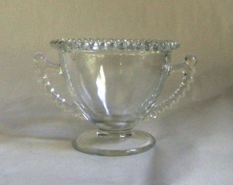 vintage Pressed Glass SUGAR Bowl with handles