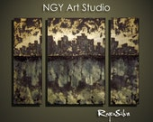 "NGY 23.5"" x 34"" Modern Contemporary Abstract Metal Wall Sculpture Art"