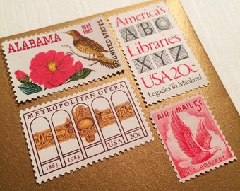 Posts 6 letters - Vintage unused postage stamps set perfect for friends, family
