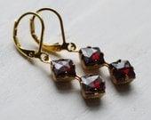 Ruby Red Deco Jewel Earrings ... Wine Burgundy Dark Red Glass Vintage Jewel