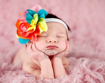 TODAY ONLY!  THREE headbands for  9.99 grab bag chiffon flower headbands or clips newborn, child, adult, girl, photographer