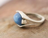 Blue Agate Ring, Blue Stone Ring, Size 6 Silver Ring, Modern Silver Ring